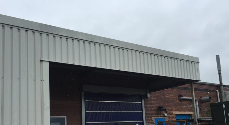 Replaced canopy cladding rails and cladding sheets.