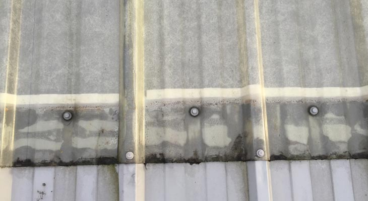 Close up photo of incorrect fixings around rooflight edges