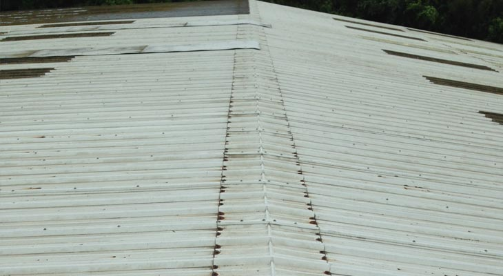 Ridge flashing showing extensive cut edge corrosion
