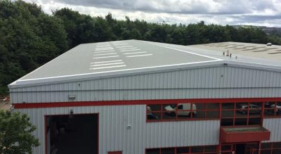 View of roofing overclad and gutter works in Tipton with completed step up detail