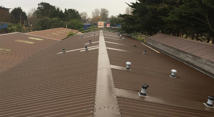 Completed Coverclad Services industrial roofing overclad in Weymouth