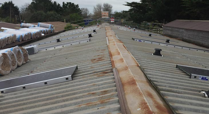 Roof stagings in place over rooflights for safety
