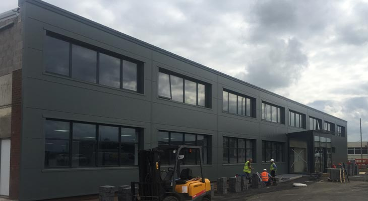 Kingspan wall cladding in anthracite grey to 40 by 6 metres front elevation
