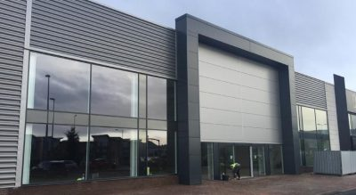 Left sided view of Kingspan Curvewall cladding installation in Dudley