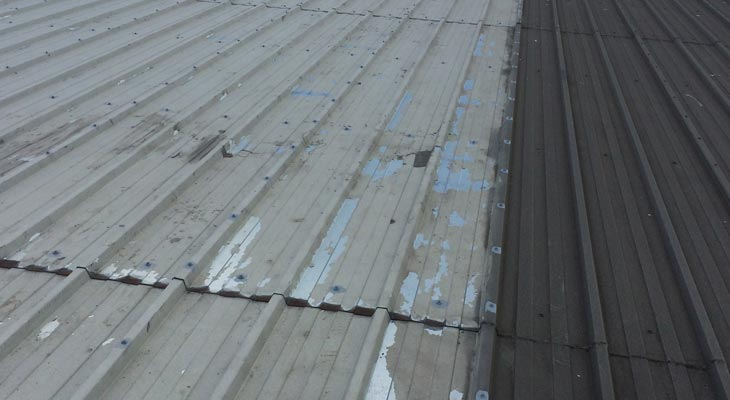 Comparison against neighbour unit roof after initial cleaning phase
