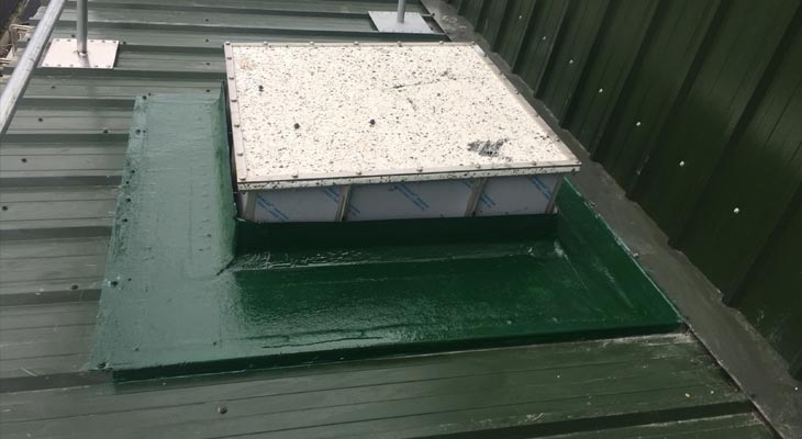 GRP weathertight seal around square penetration on mono-pitched roof
