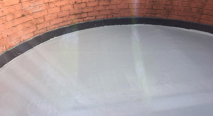 Circular flat roof with new GRP roofing and Ubiflex non-lead alternative upstand flashing