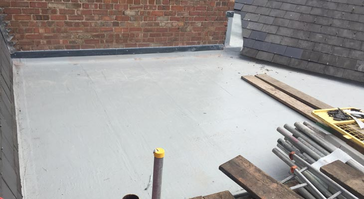Newly installed GRP flat roof with final top coat applied