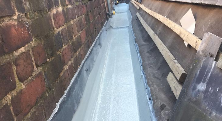 View of the same gutter with glass reinforced plastic installed