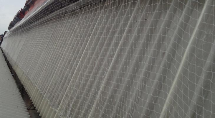 Pigeon netting installed along a 60 metre glazed slope