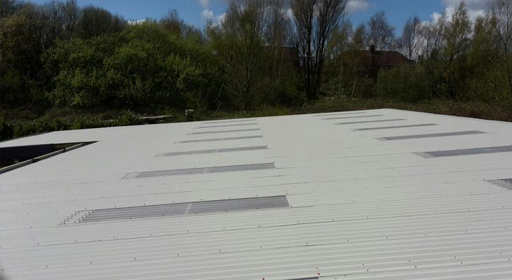 Completed view of industrial roofing overclad in Dudley