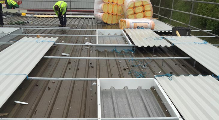 Coverclad industrial roofing installers in Dudley gridding out