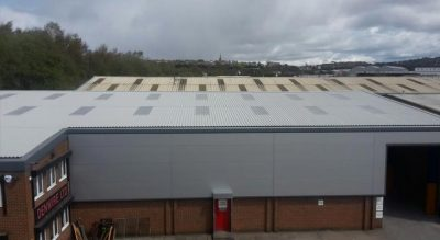 Finished view of Kingspan wall cladding and industrial roofing in Dudley