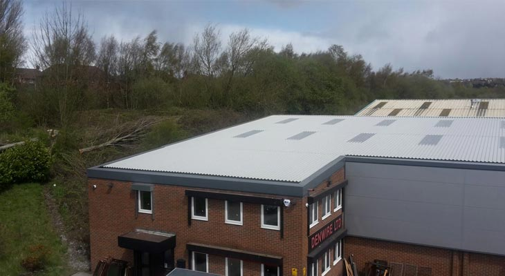 Finished view of offices area showing built-up roofing overclad