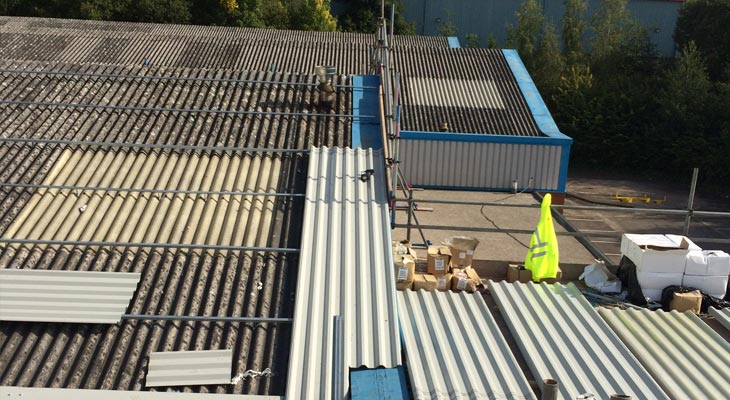 Built-up grid system installed and beginning the overclad