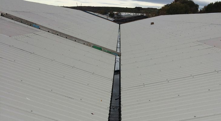 Completed view of overclad along valley gutter