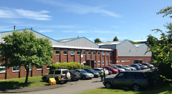 Ground level view of the industrial unit in Dudley