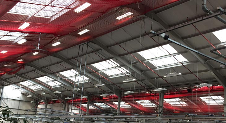 Internal safety netting installed to the industrial unit in Dudley