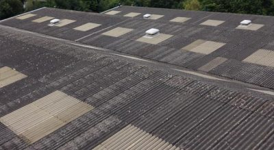 View down across 3,000 square metre asbestos cement roof