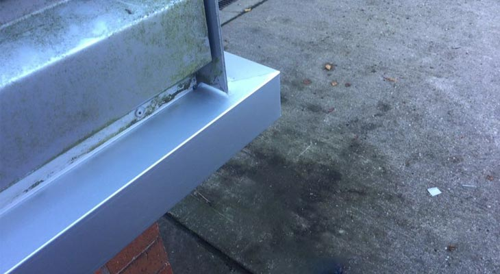 Close-up of the isolated wall cladding repairs in Kings Norton