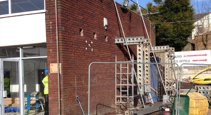 Showroom side elevation brick wall with structural steelwork underway
