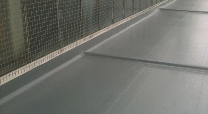 GRP roofing installed to the upper flat roof