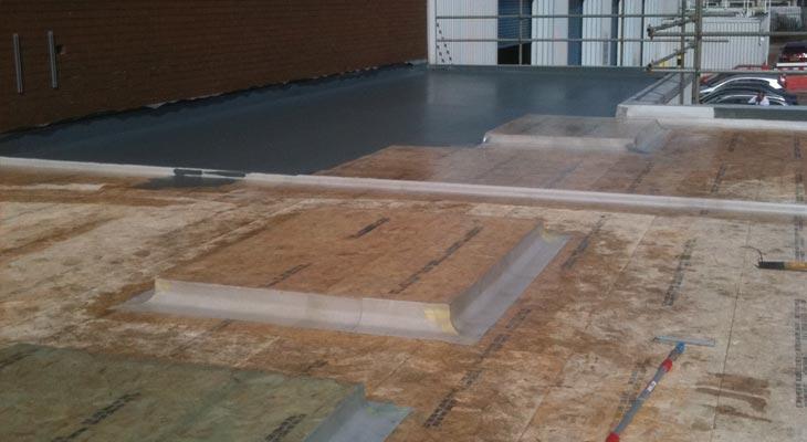 Progress view across the Oldbury GRP flat roof installation