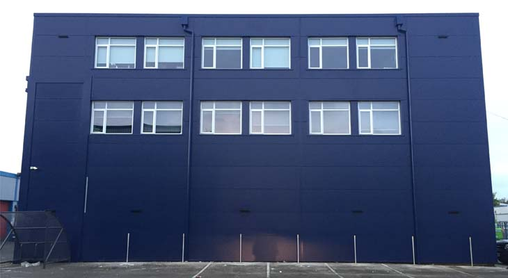 Kingspan wall cladding in azure blue