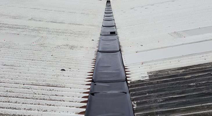 Valley gutter with Plygene Gutter Liner installed