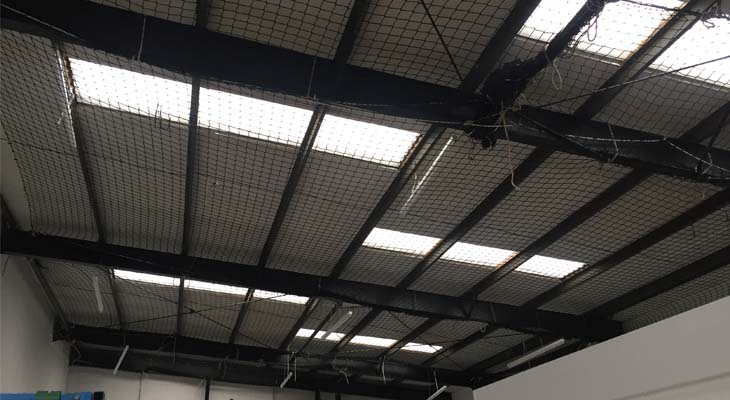 Internal view of new installed GRP roof lights with lots of natural light penetrating through