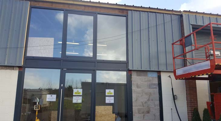 Kingspan RW1000 panels being installed to front entrance