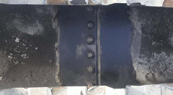 Previous gutter repair using cold liquid applied bitumen product