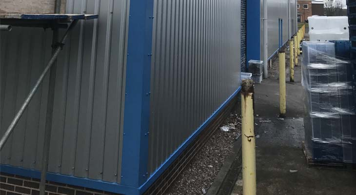 New blue corner flashing, base sills and roller shutter door flashing