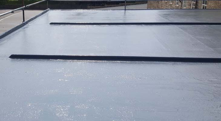 Completed view of GRP flat roof installation in Darley Dale