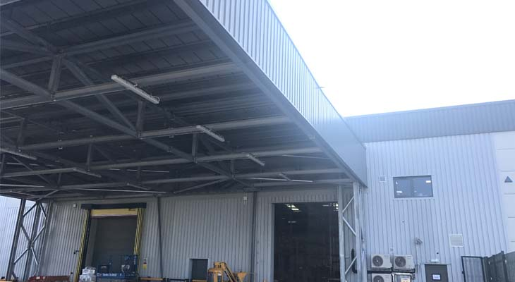 Canopy side elevation cladding installed
