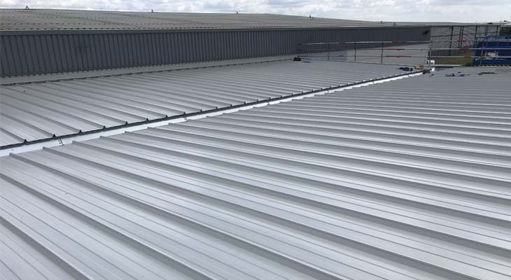 View of secret fix roofing installed to canopy structure